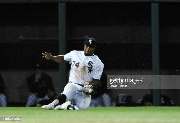 Eloy Jimenez of the Chicago White Sox catches a ball hit by Victor Robles of the Washington Nationals during the eighth inning at Guaranteed Rate...