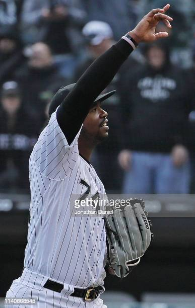 Eloy Jimenez of the Chicago White Sox celebrates a win over the Seattle Mariners during the season home opening game at Guaranteed Rate Field on...