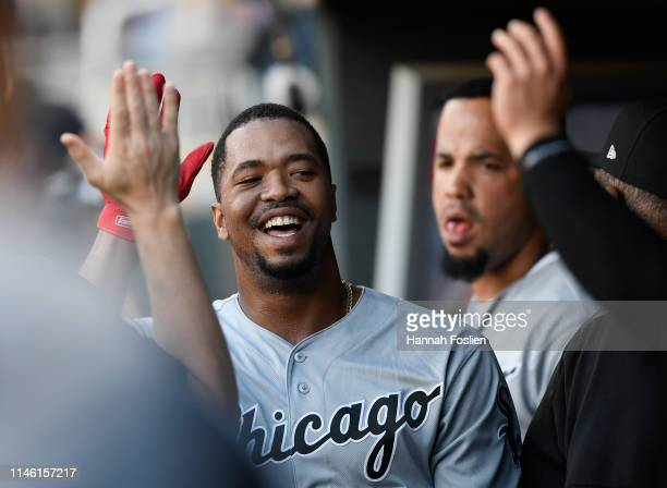 Eloy Jimenez of the Chicago White Sox celebrates scoring a run against the Minnesota Twins during the second inning of the game on May 24 2019 at...