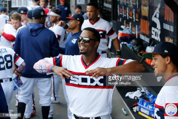 Eloy Jimenez of the Chicago White Sox during the game against the Chicago Cubs at Guaranteed Rate Field on July 06 2019 in Chicago Illinois