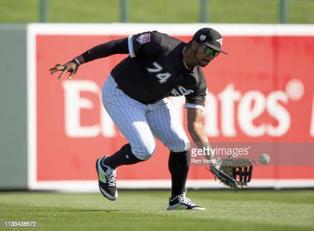 Eloy Jimenez of the Chicago White Sox fields against the Cincinnati Reds on February 27 2019 at Camelback Ranch in Glendale Arizona