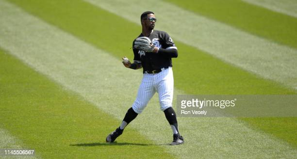 Eloy Jimenez of the Chicago White Sox fields against the Kansas City Royals on April 17 2019 at Guaranteed Rate Field in Chicago Illinois
