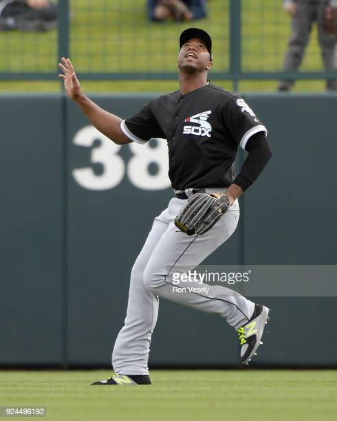 Eloy Jimenez of the Chicago White Sox fields during the game against the Los Angeles Dodgers on February 23 2018 at Camelback Ranch in Glendale...