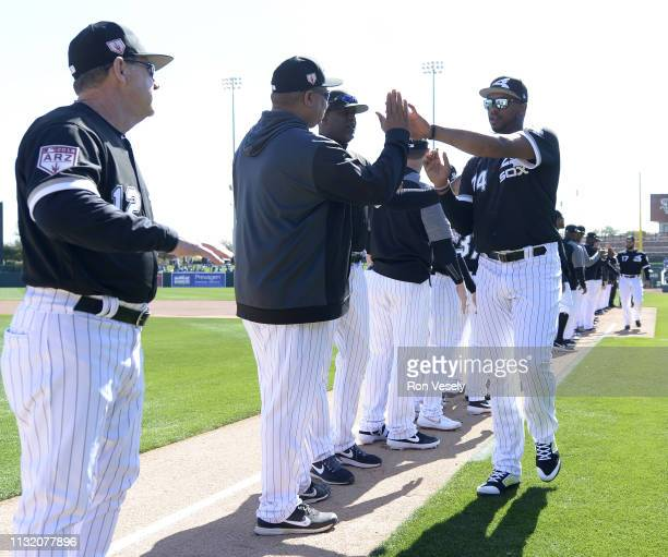 Eloy Jimenez of the Chicago White Sox his introduced prior to the game against the Los Angeles Dodgers on February 23 2019 at Camelback Ranch in...