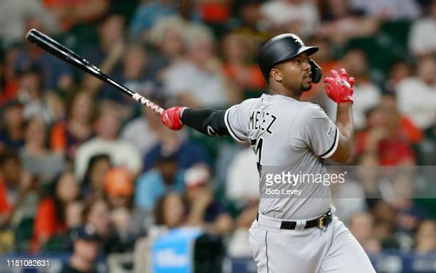 Eloy Jimenez of the Chicago White Sox hits a home run in the eighth inning against the Houston Astros at Minute Maid Park on May 22 2019 in Houston...