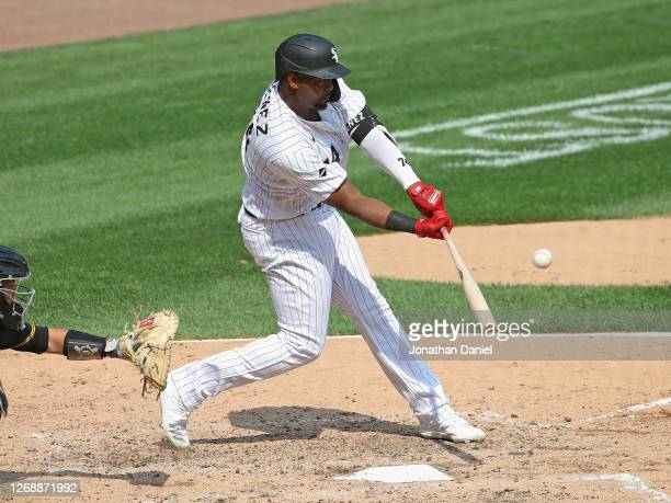 Eloy Jimenez of the Chicago White Sox hits a three run home run in the 5th inning against the Pittsburgh Pirates at Guaranteed Rate Field on August...