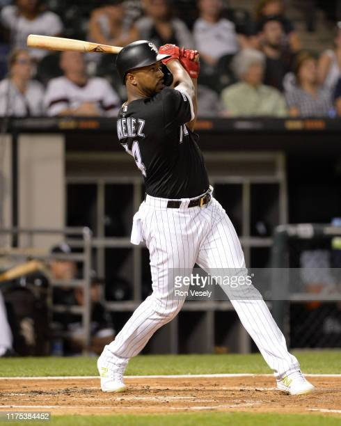 Eloy Jimenez of the Chicago White Sox hits a threerun home run in the first inning against the Kansas City Royals on September 11 2019 at Guaranteed...