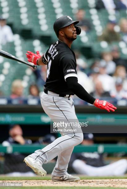 Eloy Jimenez of the Chicago White Sox hits a tworun home run against the Detroit Tigers during the sixth inning at Comerica Park on April 18 2019 in...