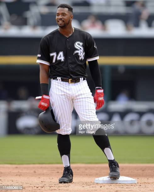 Eloy Jimenez of the Chicago White Sox looks on against the Kansas City Royals on April 17 2019 at Guaranteed Rate Field in Chicago Illinois