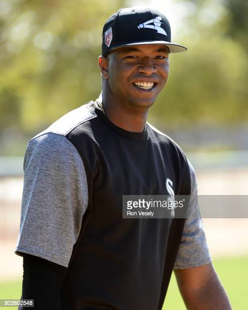 Eloy Jimenez of the Chicago White Sox looks on during a spring training workout February 20 2018 at Camelback Ranch in Glendale Arizona