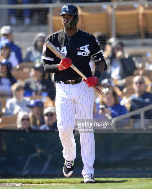 Eloy Jimenez of the Chicago White Sox looks on during the game against the Los Angeles Dodgers on February 23 2019 at Camelback Ranch in Glendale...