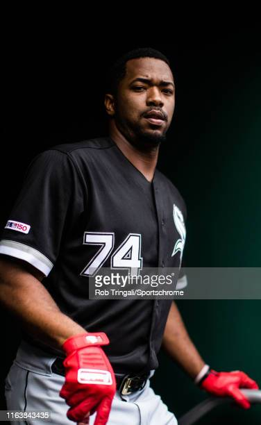 Eloy Jimenez of the Chicago White Sox looks on from the dugout during the game against the Washington Nationals at Nationals Park on June 5 2019 in...