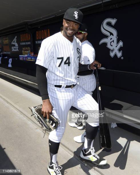 Eloy Jimenez of the Chicago White Sox looks on prior to the game against the Tampa Bay Rays on April 9 2019 at Guaranteed Rate Field in Chicago...