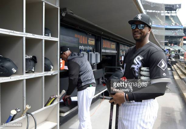Eloy Jimenez of the Chicago White Sox looks on prior to the game against the Kansas City Royals on April 17 2019 at Guaranteed Rate Field in Chicago...