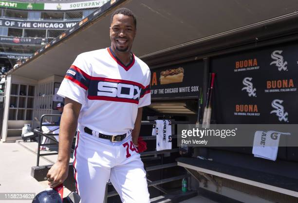 Eloy Jimenez of the Chicago White Sox looks on while walking through the dugout prior to the game against the Cleveland Indians on June 2 2019 at...