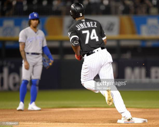 Eloy Jimenez of the Chicago White Sox rounds second base after hitting a threerun home run in the first inning against the Kansas City Royals on...