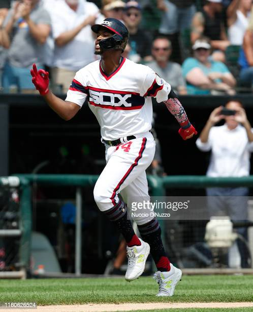 Eloy Jimenez of the Chicago White Sox rounds the bases following his two run home run during the fourth inning against the Chicago Cubs at Guaranteed...