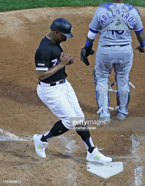 Eloy Jimenez of the Chicago White Sox scores a run in the 2nd inning against the Kansas City Royals at Guaranteed Rate Field on May 29 2019 in...