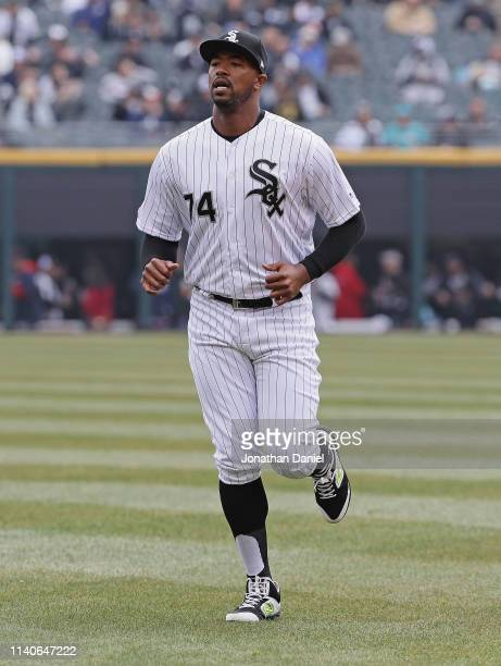 Eloy Jimenez of the Chicago White Sox warmsup before the season home opening game against the Seattle Mariners at Guaranteed Rate Field on April 05...