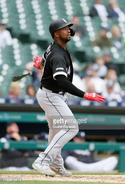 Eloy Jimenez of the Chicago White Sox watches his home run against the Detroit Tigers at Comerica Park on April 18 2019 in Detroit Michigan