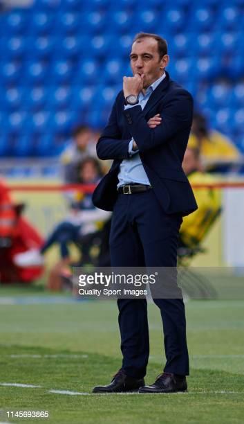 Eloy Jimenezl head coach of Lugo reacts during the La Liga123 match between Las Palmas and Lugo at Estadio de Gran Canaria on April 28 2019 in Las...