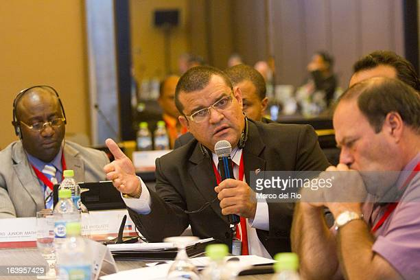 Eloy Oliveros of Cuba talks during the CONCECADE presentation as part of XIX Sports Minister of America and Iberoamerica Meeting Organized by CID at...