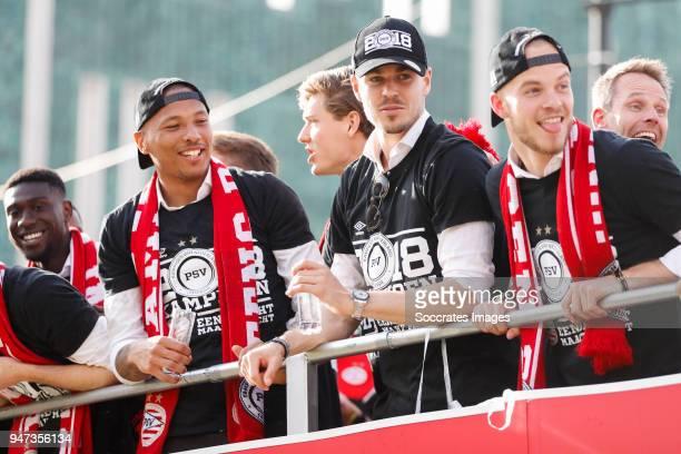 Eloy Room of PSV, Marco van Ginkel of PSV, Jorrit Hendrix of PSV leaving the stadium during the champions parade during the PSV champions parade at...