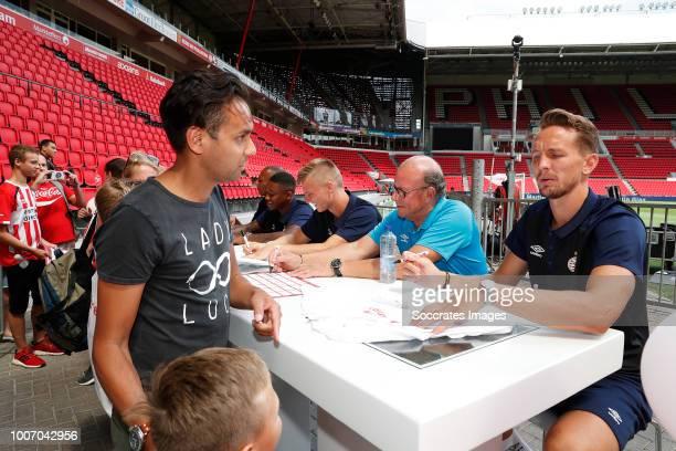 Eloy Room of PSV Steven Bergwijn of PSV Albert Gudmundsson of PSV Mart van den Heuvel of PSV Luuk de Jong of PSV during PSV Fandag 2018 during the...