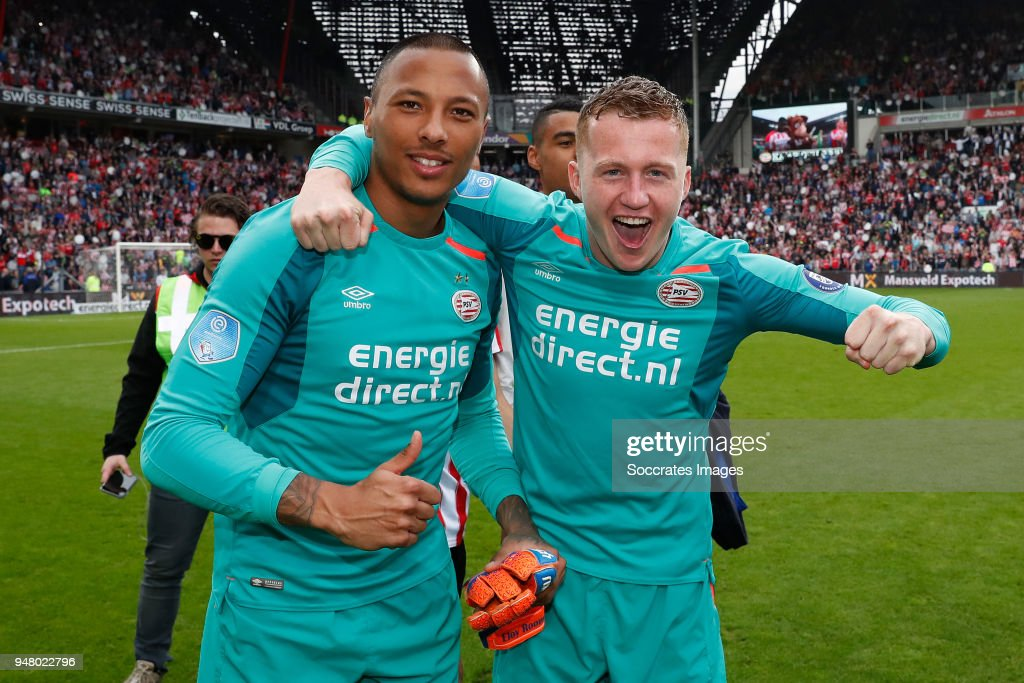 Eloy Room of PSV, Yanick van Osch of PSV celebrates the championship during the Dutch Eredivisie match between PSV v Ajax at the Philips Stadium on April 15, 2018 in Eindhoven Netherlands