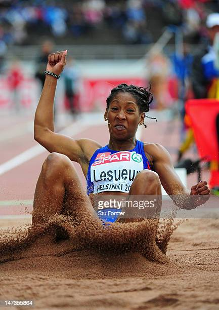 Eloyse Lesueur of France competes in the Women's Long Jump Final during day two of the 21st European Athletics Championships at the Olympic Stadium...
