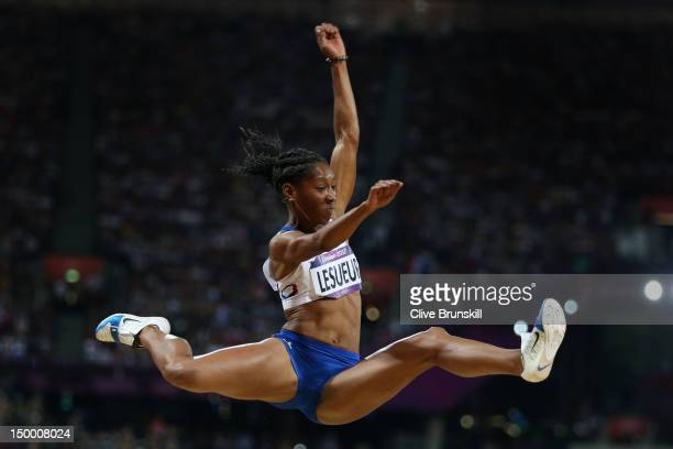 Eloyse Lesueur of France competes in the Women's Long Jump Final on Day 12 of the London 2012 Olympic Games at Olympic Stadium on August 8, 2012 in...