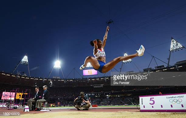 Eloyse Lesueur of France competes in the Women's Long Jump Final on Day 12 of the London 2012 Olympic Games at Olympic Stadium on August 8 2012 in...