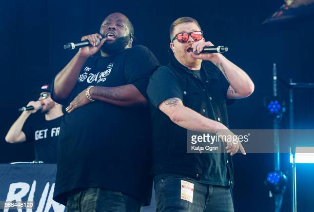 ElP and Killer Mike of Run the Jewels perform at the Queens of the Stone Age and Friends show at Finsbury Park on June 30 2018 in London England