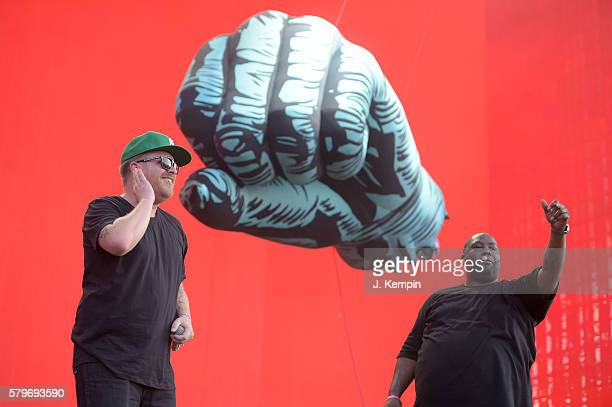 ElP and Killer Mike of Run the Jewels perform onstage at the 2016 Panorama NYC Festival Day 3 at Randall's Island on July 24 2016 in New York City