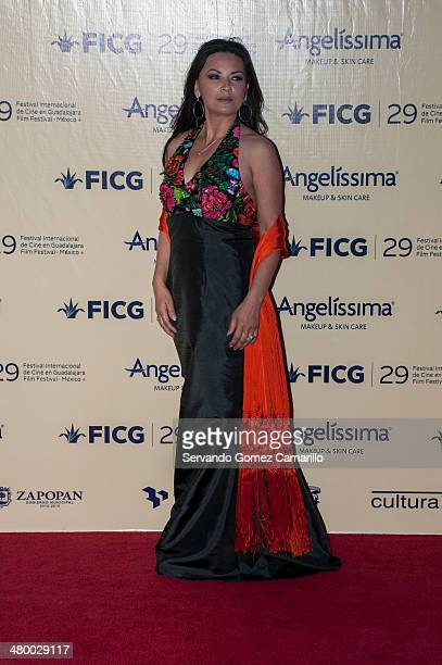 Elpidia Carrillo poses at the red carpet during the inauguration of the International Film Festival on march 21 2014 in Guadalajara Mexico