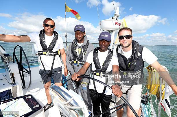 L_R Elroy Palmer Reagan JosephHenry Kirk Read of St Giles Trust with UKSA CEO Ben Willows during Aberdeen Asset Management Cowes Week on August 6...