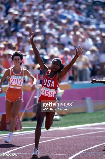 Els Vader Evelyn Ashford Women's Track 100 metres competition Memorial Coliseum at the 1984 Summer Olympics August 5 1984