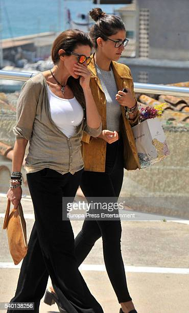 Elsa Anka and her daughter Lidia Torrent attend the funeral for Tona Vives mother of the Minnesota Timberwolves basketball player Ricky Rubio at Sant...
