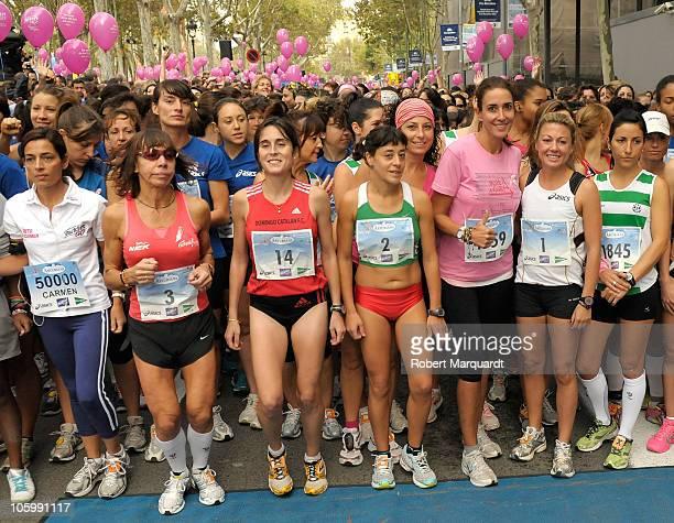 Elsa Anka and Maria Vasco participate in the 6th annual 'La Carrera de la Mujer' charity event against breast cancer on October 24 2010 in Barcelona...