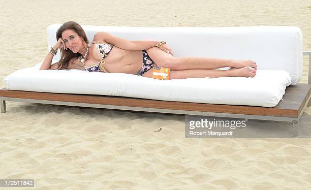 Elsa Anka poses as the new image for 'Siken' diet products on the Barceloneta beach on July 2 2013 in Barcelona Spain