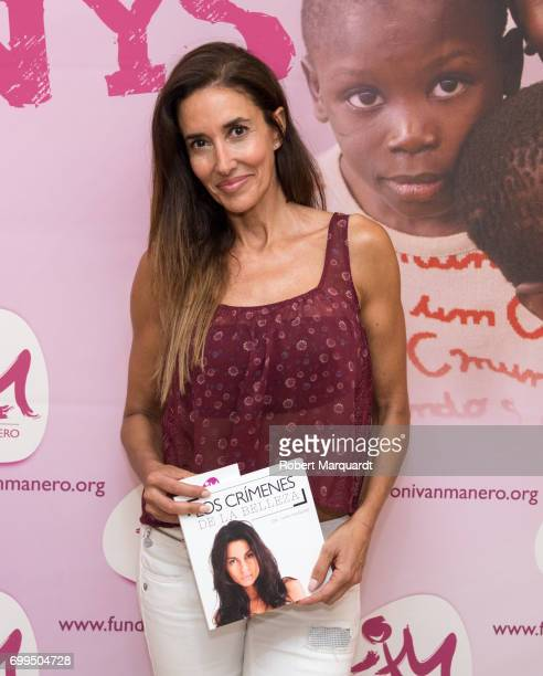 Elsa Anka poses during a photocall for the presentation of new book 'Los Crimenes de la Belleza' held at the Libreria Bernat on June 21 2017 in...
