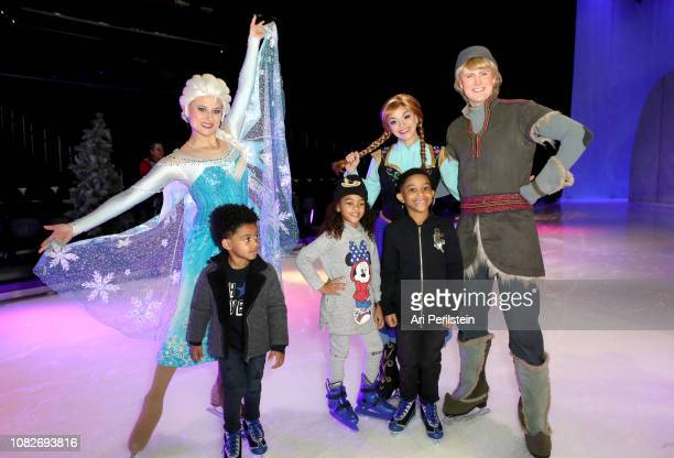 Elsa Anna Kristoff and guests attend Disney On Ice Presents Dare to Dream Celebrity Skating Party at Staples Center on December 14 2018 in Los...