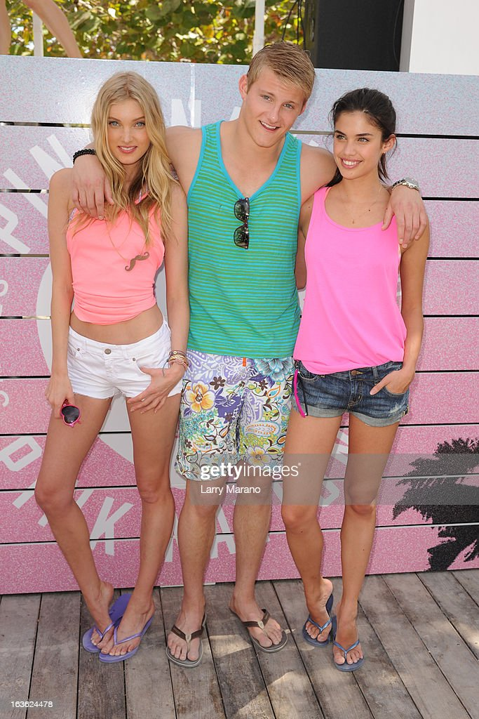 Elsa Hosk, Alexander Ludwig and Sara Sampaio arrive at Victoria's Secret PINK Ultimate Spring Break Dance Party in Miami at Raleigh Hotel on March 13, 2013 in Miami Beach, Florida.
