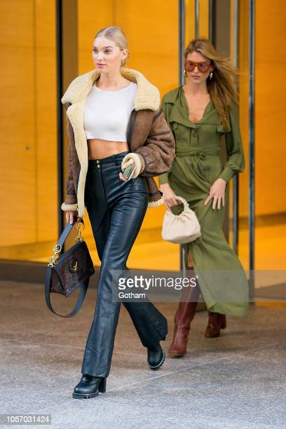 Elsa Hosk and Martha Hunt attend fittings for the 2018 Victoria's Secret Fashion Show in Midtown on November 3 2018 in New York City