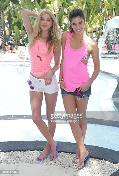 Elsa Hosk and Sara Sampaio are seen at the Victoria's Secret PINK Ultimate Spring Break Dance Party at Raleigh Hotel on March 13 2013 in Miami Beach...