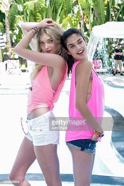 Elsa Hosk and Sara Sampaio are seen at the Victoria's Secret PINK Ultimate Spring Break Dance Party in Miami at Raleigh Hotel on March 13 2013 in...