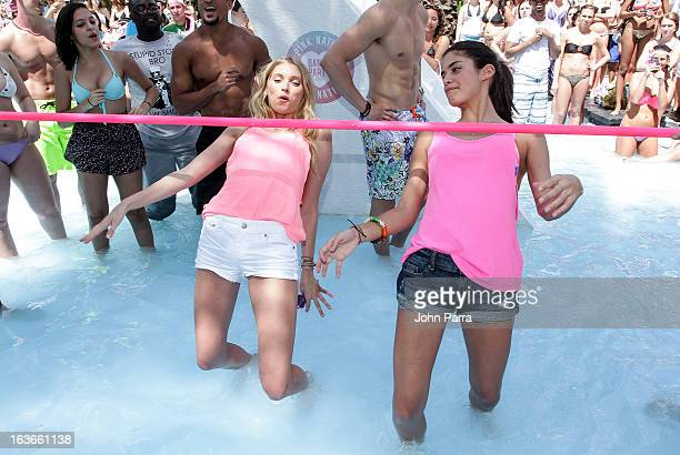 Elsa Hosk and Sara Sampaio attend the Victoria's Secret PINK Ultimate Spring Break Dance Party in Miami at Raleigh Hotel on March 13 2013 in Miami...