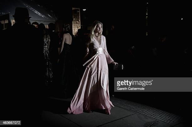 Elsa Hosk arrives at the 2015 amfAR New York Gala at Cipriani Wall Street on February 11 2015 in New York City