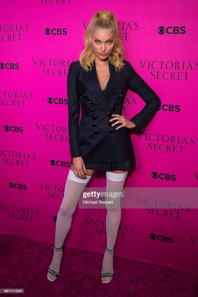 Elsa Hosk attends the 2017 Victoria's Secret Fashion Show viewing party pink carpet at Spring Studios on November 28, 2017 in New York City.