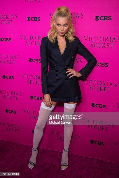Elsa Hosk attends the 2017 Victoria's Secret Fashion Show viewing party pink carpet at Spring Studios on November 28 2017 in New York City